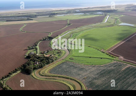 aerial view looking south east along Steeping River towards Gibraltar Point Nature Reserve, Lincolnshire - Stock Photo