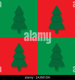 Seamless flat christmas pattern with fir trees on red and green background - Stock Photo