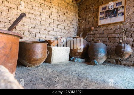 Traditional pottery in an Andean Eco Village, museum in Huatajata, lakeside village of  Lake Titicaca, La Paz, Bolivia, Latin America