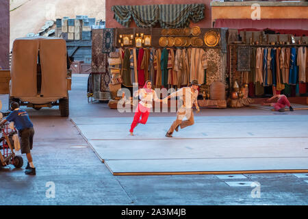 Orlando, Florida. September 27, 2019. Characters performing in Indiana Jones Epic Stunt Spectacular at Hollywood Studios - Stock Photo