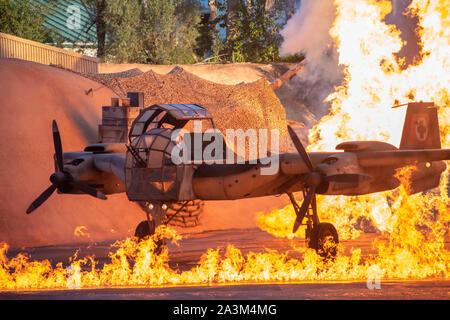 Orlando, Florida. September 27, 2019. Fantastic explosion in Indiana Jones Epic Stunt Spectacular at Hollywood Studios - Stock Photo