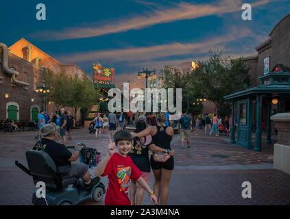 Orlando, Florida. September 27, 2019. Nice child enjoying  Hollywood Studios theme park. - Stock Photo
