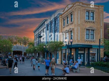 Orlando, Florida. September 27, 2019. People walking in Grand Aveneu are at Hollywood Studios - Stock Photo