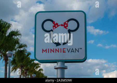 Orlando, Florida. September 27, 2019. Top view of Minnie Van sign at Hollywood Studios - Stock Photo