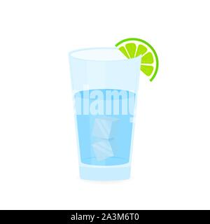 Mojito and ice cubes sign symbol in flat style. Vector illustration. - Stock Photo