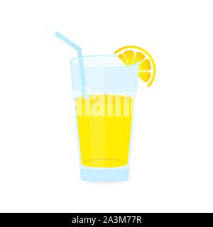 Icon of drink with fruit. Lemon juice on white background. Vector stock illustration. - Stock Photo