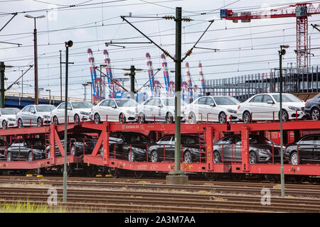 Car Shipping, Bremerhaven seaport, Free Hanseatic City of Bremen, Germany,  Europe - Stock Photo