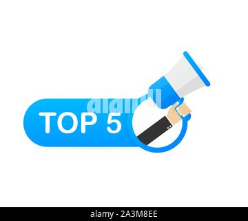 Megaphone Hand, business concept with text Top 5. Vector stock illustration - Stock Photo