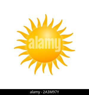 Realistic sun icon for weather design on white background. Vector illustration. - Stock Photo