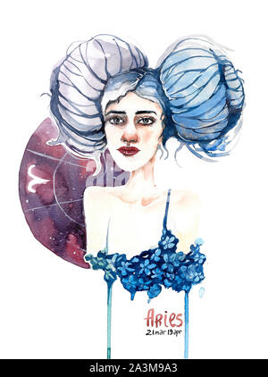 Aries - Zodiac sign, watercolor drawing - Stock Photo