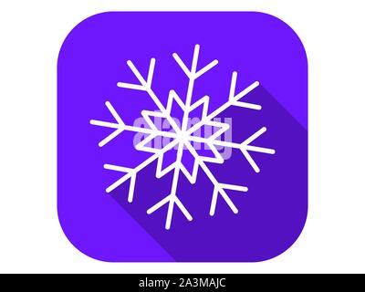 Snowflake flat icon with long shadow. Symbol of cold and winter. Vector illustration - Stock Photo