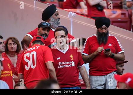 MADRID, SPAIN - JUNE 01, 2019: Liverpool fans pictured during the final of the 2019/20 UEFA Champions League Final. - Stock Photo