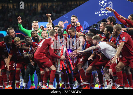 MADRID, SPAIN - JUNE 01, 2019: Liverpool squad pictured during the final of the 2019/20 UEFA Champions League Final. - Stock Photo