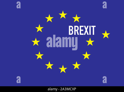 An illustration about Brexit. A flag of European Union. - Stock Photo