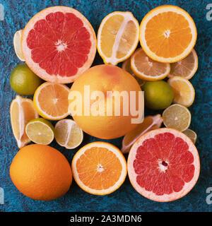 Citrus fruits collection, food background oranges, lemons, limes and grapefruit fresh fruits background - Stock Photo
