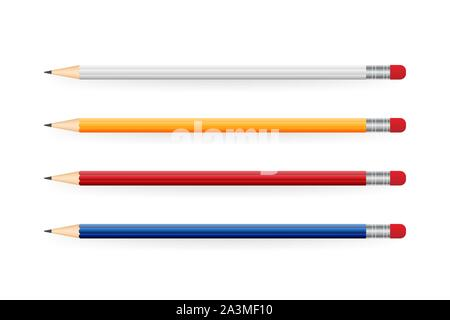 Yellow realistic pencil with shadow. Vector illustration isolated on white background. - Stock Photo