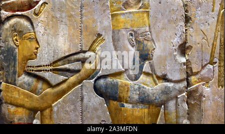 King Ramses II among the Gods 1275 BC from a small temple in  Abydos 19th Dynasty Egypt Egyptian - Stock Photo