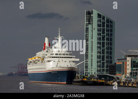 The Fred Olsen Line Cruise Ship, MV Black Watch at the Liverpool Cruise Terminal on The River Mersey