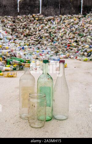 White glass bottles recycling yard - Stock Photo