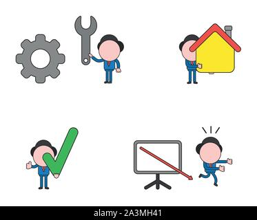 Vector illustration set of businessman mascot character holding spanner to gear, holding house, check mark and running away from sales chart arrow mov - Stock Photo