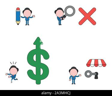 Vector illustration set of businessman mascot character holding pencil, holding magnifying glass to x mark, running away from big dollar money symbol - Stock Photo