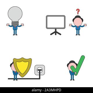 Vector illustration set of businessman mascot character with grey light bulb head, blank presentation chart, holding guard shield and plug plugged int - Stock Photo