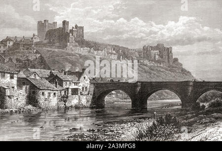 Richmond Castle and the bridge over the River Swale, Richmond, North Yorkshire, England. From English Pictures, published 1890. - Stock Photo