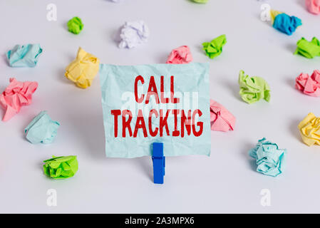 Handwriting text Call Tracking. Conceptual photo Organic search engine Digital advertising Conversion indicator Colored crumpled papers empty reminder - Stock Photo