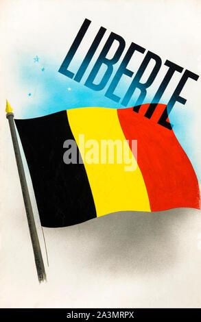 British, WW2, Unity of Strength poster, Inter-allied co-operation, Liberte, (Liberty), Belgian Flag, 1939-1946 - Stock Photo