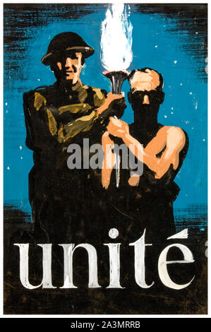 British, WW2, Unity of Strength poster, Inter-allied co-operation, Unite!, (British soldier and Resistance figure with flaming torch), 1939-1946 - Stock Photo