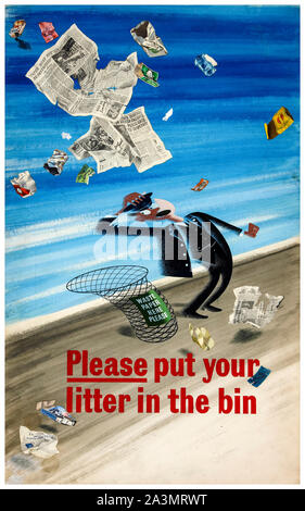 British, WW2, Anti litter poster, Please put your Litter in the Bin, (railway porter, surrounded by, blizzard of platform litter), 1939-1946 - Stock Photo