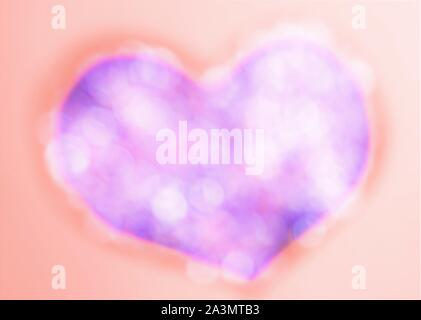 Pink blue blurred shiny heart on orange background, abstract - Stock Photo