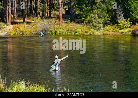 A female flycaster fishes a pool on the beautiful Metolius River in the central Oregon Cascade Mountains - Stock Photo