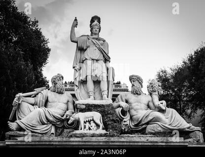 Scupltures of Fontana della Dea Roma or The Fountain of the Goddess Rome on Piazza del Popolo in Rome, Italy - Stock Photo