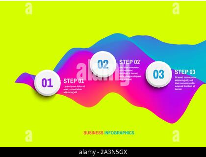 Startup infographic template with three steps. Business concept. 3D wavy background with dynamic effect. Vector illustration for marketing, research, - Stock Photo