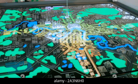Interactive 3D city model of Moscow - Stock Photo