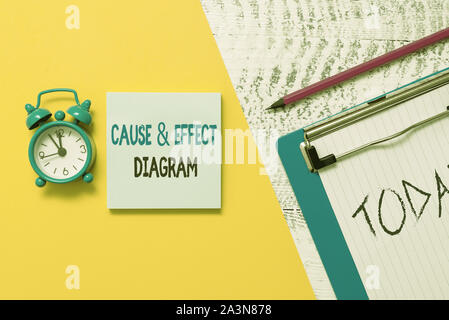 Writing note showing Cause And Effect Diagram. Business concept for Visualization tool to categorize potential causes Notepad clipboard colored paper - Stock Photo