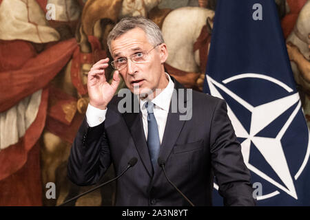 NATO Secretary General, Jens Stoltenberg speaks during a meeting with the Italian premier, Giuseppe Conte at Palazzo Chigi. - Stock Photo