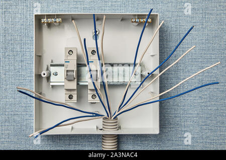 Electric Wiring And Fusebox In A House Stock Photo Alamy