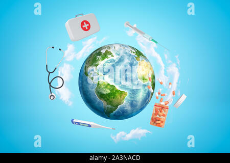 3d rendering of colored earth globe with first aid medical box, pills jar, syringe, stethoscope and digital thermometer on blue sky background - Stock Photo