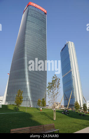 Milan, Italy - 03 March 2019: Zaha Hadid Architects, new Generali Tower - twisted skyscraper, organic shaped high rise building, Citylife district, ex - Stock Photo