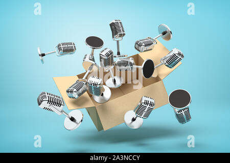 3d rendering of cardboard box suspended in air full of microphones which are flying out on light-blue background. - Stock Photo