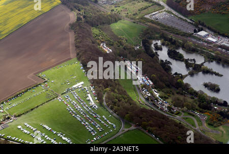 Aerial photo of Olivers Mount racing paddocks showing the Mere and part of the camping area and race track - Stock Photo