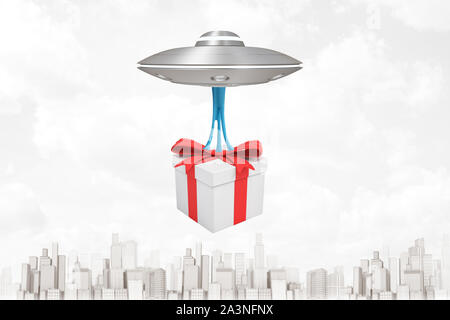 3d rendering of silver metal UFO carrying gift box on white city skyscrapers background - Stock Photo