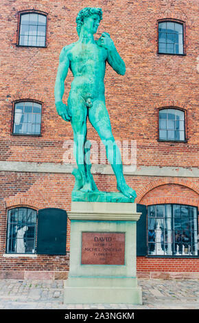 Replica of Michelangelo's statue of David outside The Royal Cast Collection building on Langelinie Promenade. Copenhagen. Denmark - Stock Photo