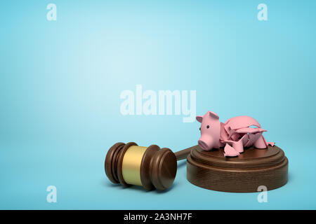 3d rendering of pieces of broken piggy bank lying on sounding block with gavel beside on light-blue background with copy space.