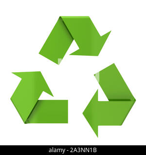 Recycle symbol. 3d illustration isolated on white background - Stock Photo