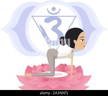 Yoga Asana Practice Posture on a Lotus Flower With Om Symbol in Mandala vector illustration. - Stock Photo