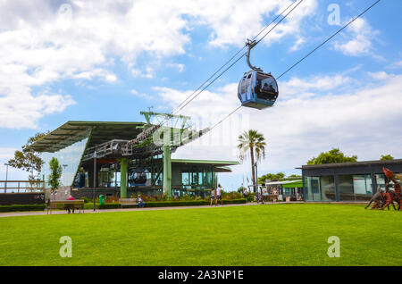 Funchal, Madeira, Portugal - Sep 10, 2019: Cable car station in the Madeiran capital connecting Funchal and city Monte on the adjacent hill. Gondola, funicular. Transport service, transportation. - Stock Photo