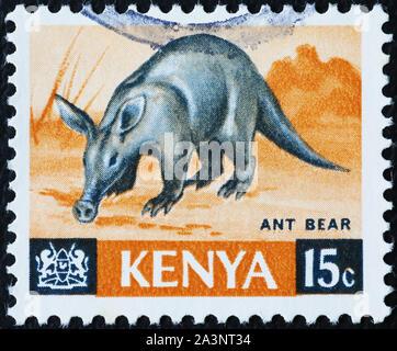 Aardvark on kenyan postage stamp - Stock Photo